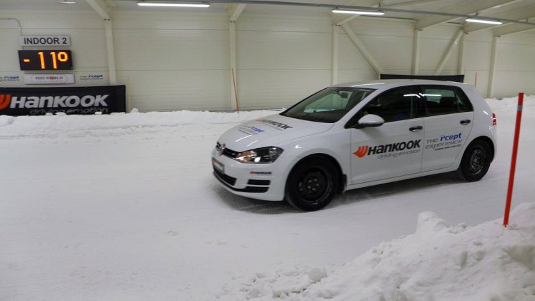 Winter tires test in a giant freezer – Finland