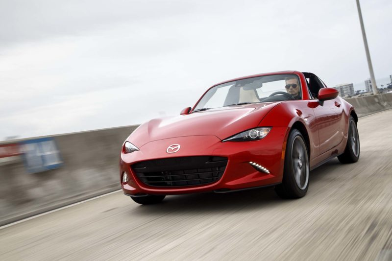 2017-Mazda-MX-5-Miata-RF-front-three-quarter-in-motion-12